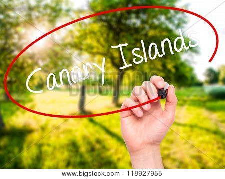 Man Hand Writing Canary Islands With Black Marker On Visual Screen