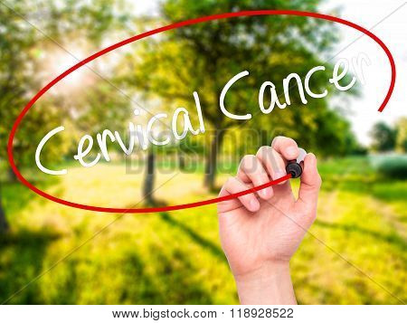 Man Hand Writing Cervical Cancer With Black Marker On Visual Screen