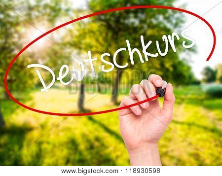 Man Hand Writing Deutschkurs (german Course In German) With Black Marker On Visual Screen