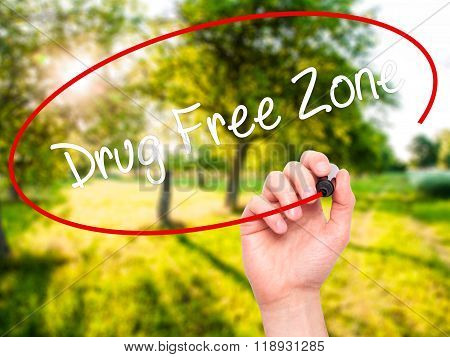 Man Hand Writing Drug Free Zonewith Black Marker On Visual Screen