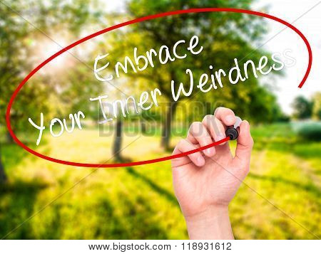 Man Hand Writing Embrace Your Inner Weirdness  With Black Marker On Visual Screen