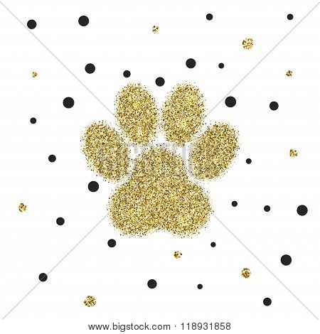 Vectro modern golden glitter animal paw