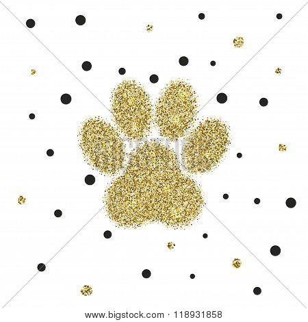 Vectro modern golden glitter animal paw