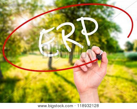 Man Hand Writing  Erp (enterprise Resource Planning)   With Black Marker On Visual Screen