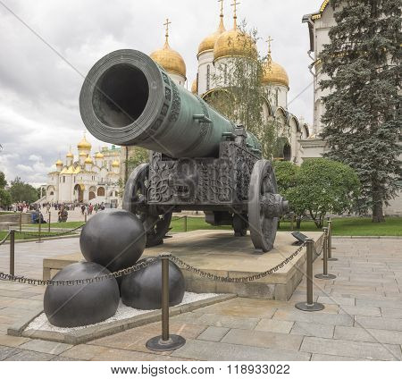MOSCOW; RUSSIA- JULY 13- Tsar Cannon in Kremlin on July 13; 2015 in Moscow