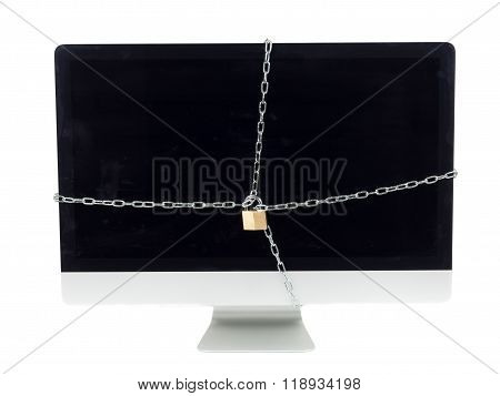 Secured Computer With Chain And Lock