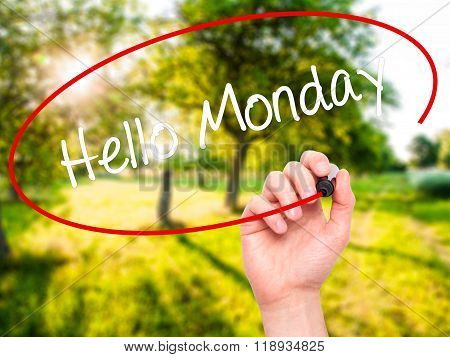 Man Hand Writing Hello Monday With Black Marker On Visual Screen