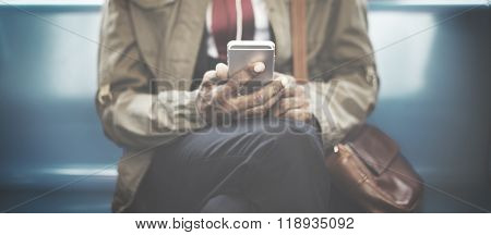 Man Traveling Train Mobile Phone Concept