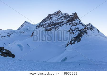 Close View Of Jungfrau From Jungfraujoch At Dusk