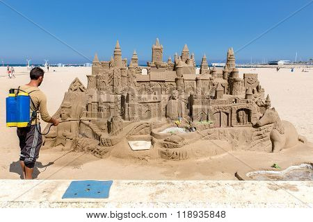 Valencia, Spain- april 24: sand sculpture on the beach april 24, 2014 Valencia, Spain.