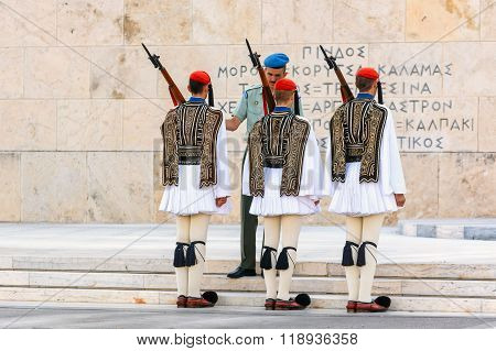 he Changing of the Guard ceremony takes place in front of the Greek Parliament Building