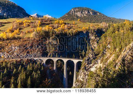 Landvasser Viaduct In Swiss Alps
