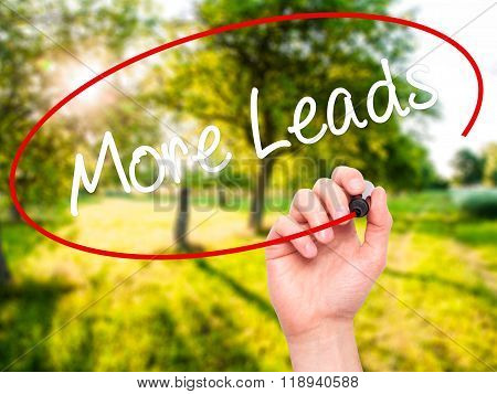 Man Hand Writing  More Leads With Black Marker On Visual Screen