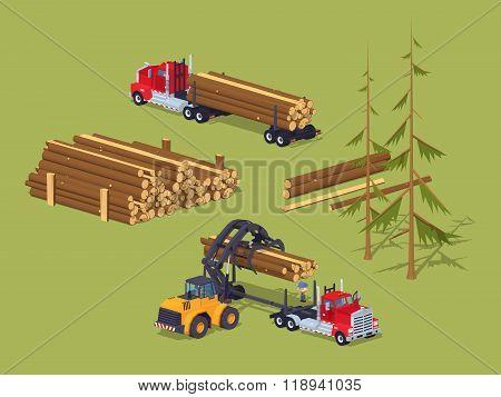 Lumber stock. Logs loading on trucks