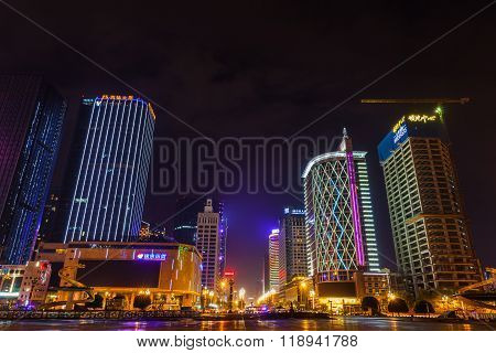 Night View Of Tianfu Square In Chengdu
