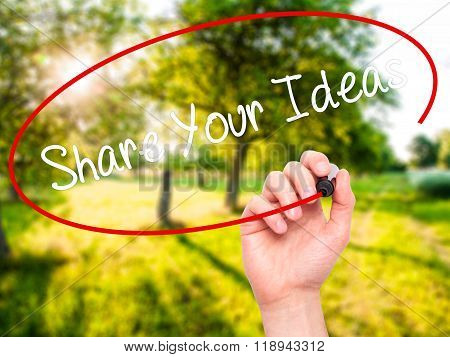 Man Hand Writing Share Your Ideas With Black Marker On Visual Screen
