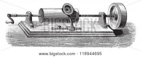 Phonograph, instrument that preserves and reproduces the words, vintage engraved illustration. Magasin Pittoresque 1878.