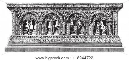 Part of the Tomb of Henry the Large, the former Saint-Etienne de Troyes, vintage engraved illustration. Magasin Pittoresque 1880.
