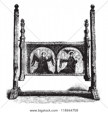 Wooden cradle of the fifteenth century, vintage engraved illustration. Magasin Pittoresque 1878.