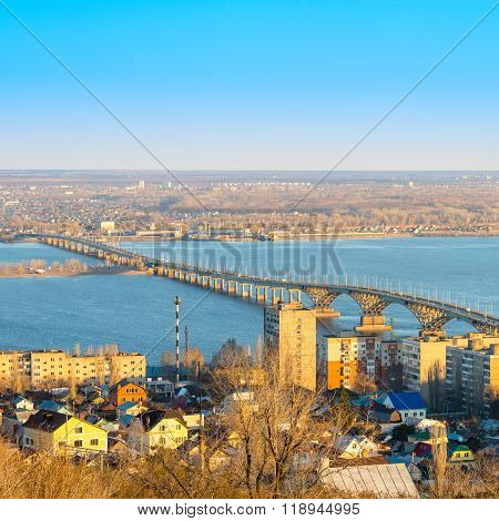Beautiful Landscape Of River Volga With View Bridge On Saratov And Engels, Close Up