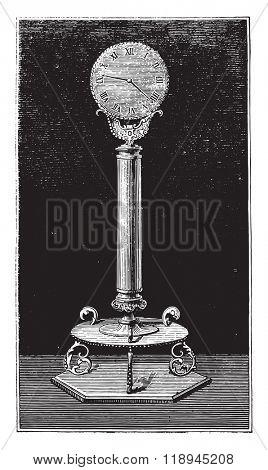 Pendulum Robert Houdin, vintage engraved illustration. Magasin Pittoresque 1880.