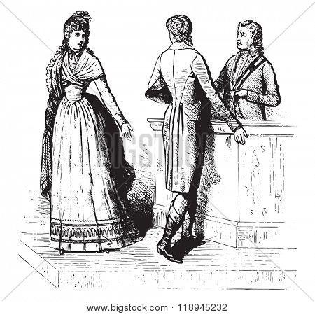 Divorce suits, 1793, On after a stamp of time, vintage engraved illustration. Magasin Pittoresque 1880.