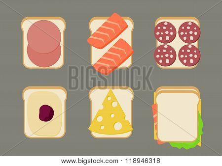 Vector illustration of sandwiches.