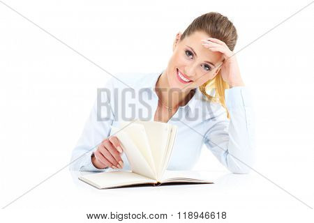Picture of businesswoman with documents over white background