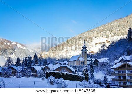 Picturesque Alps Village In Austria Winter View