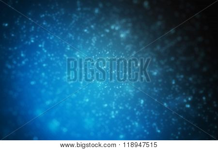 Blue background with particles.
