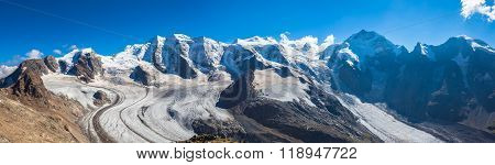Panorama View Of Bernina Massive And Morteratsch Glacier