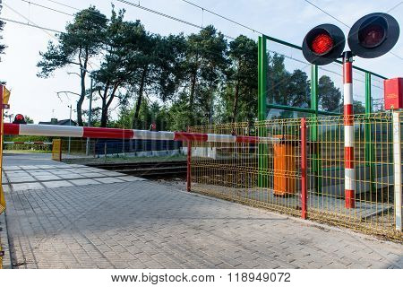 barrier at the railway crossing. railway station
