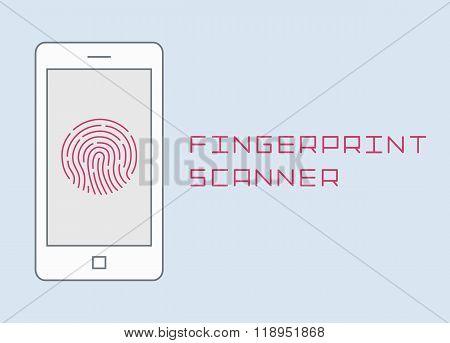 Fingerprint scanning on smartphone vector flat design thin line illustration. mobile phone finger  i