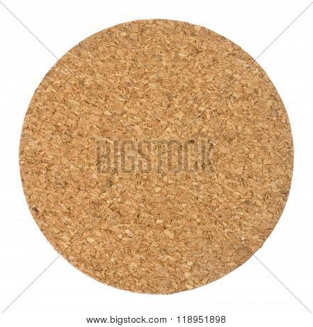 Round Cork Table Coaster On White Background