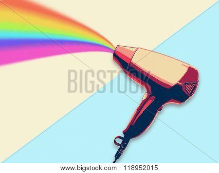 Hair dryer blowing rainbow flat design illustration