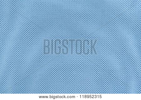 Close Up Texture Background Of Blue Polyester Fabric