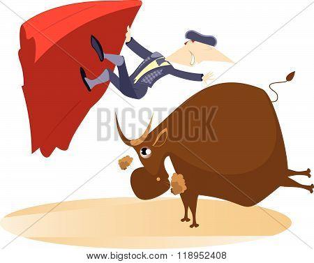 Bullfight. Bull raised the bullfighter by horns