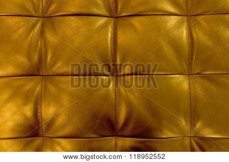 Horizontal Texture Of Golden Upholstery Leather Pattern Background