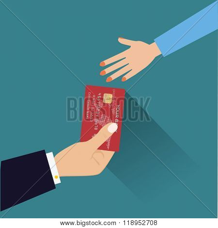Hand giving credit card  Flat style