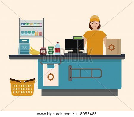 Cashier girl at supermarket