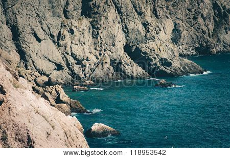 Blue Sea and rocky seaside Landscape beautiful scenery