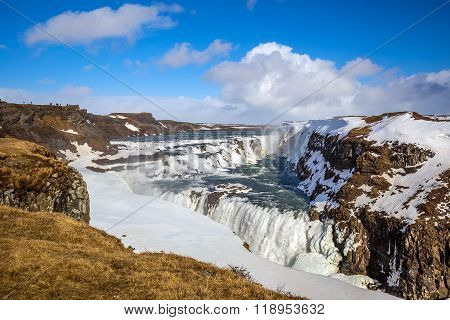 Frozen Gullfoss Waterfall, Iceland