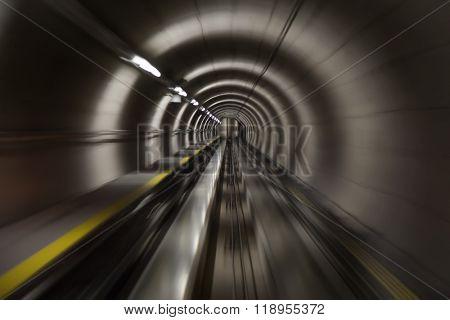 Going trough the underground tunnel