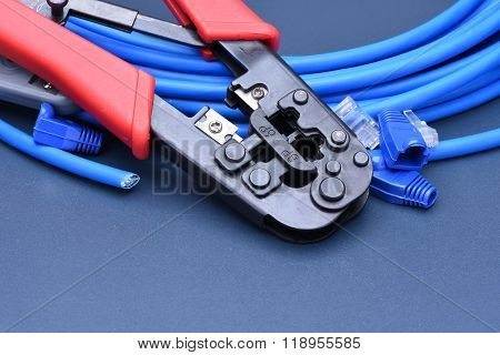 Crimping tool with cable for computer network