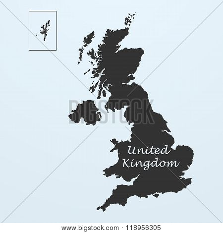Map of United Kingdom, Great Britain or England