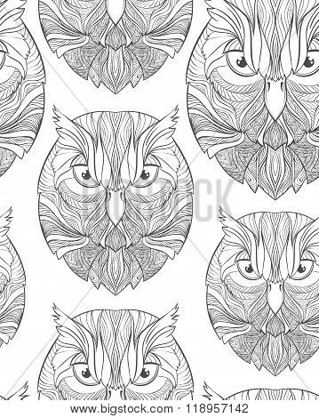 Seamless pattern with sketch owl in boho style. Adults coloring