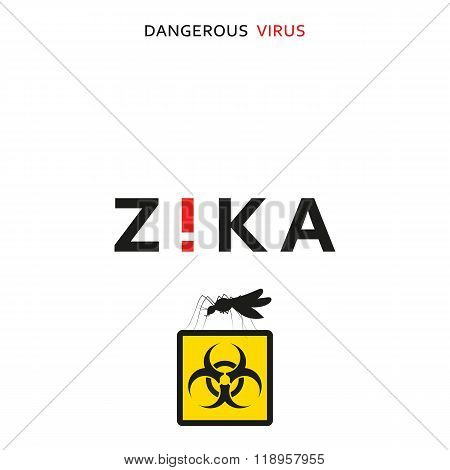 Stop zika. Dangerous virus. Caution virus threat. Mosquitoes infected microcephaly