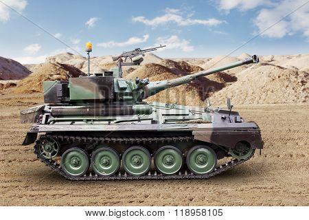 Heavy Military Tank On The Desert