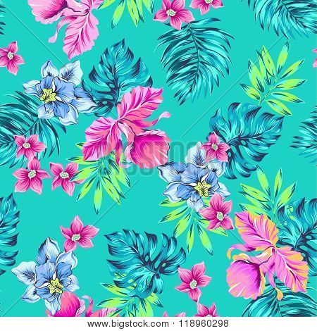 tropical pattern. seamless floral composition vintage illustration classical hawaiian motived: hibiscus monstera palm leaves flowers plumeria