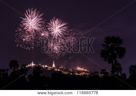 Fireworks Celebration Festival Above Phra Nakhon Khiri In Phetchaburi Province, Thailand